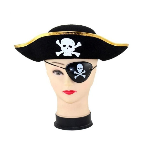 Pirate Cap Skull Print Pirate Captain Costume Cap Halloween Masquerade Party Cosplay Hat Prop 6