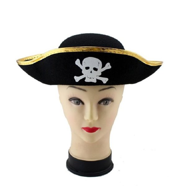 Pirate Cap Skull Print Pirate Captain Costume Cap Halloween Masquerade Party Cosplay Hat Prop 12