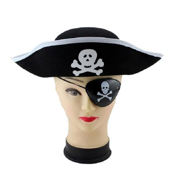 Pirate Cap Skull Print Pirate Captain Costume Cap Halloween Masquerade Party Cosplay Hat Prop 14