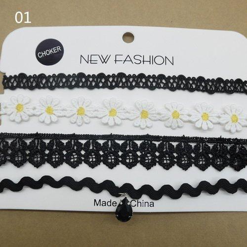 Vintage 4pcs/set flower lace choker set goth vintage chocker velvet chokers necklace women collar fashion jewelry collier femme 2