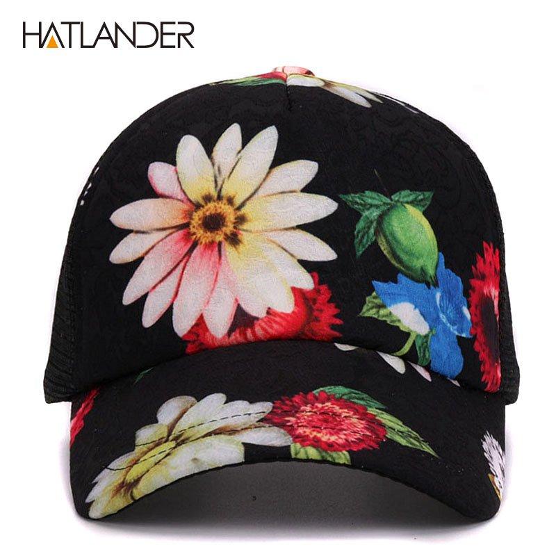 HATLANDER 2017 Flower baseball caps for women summer sun hats ... ea9b37d957c