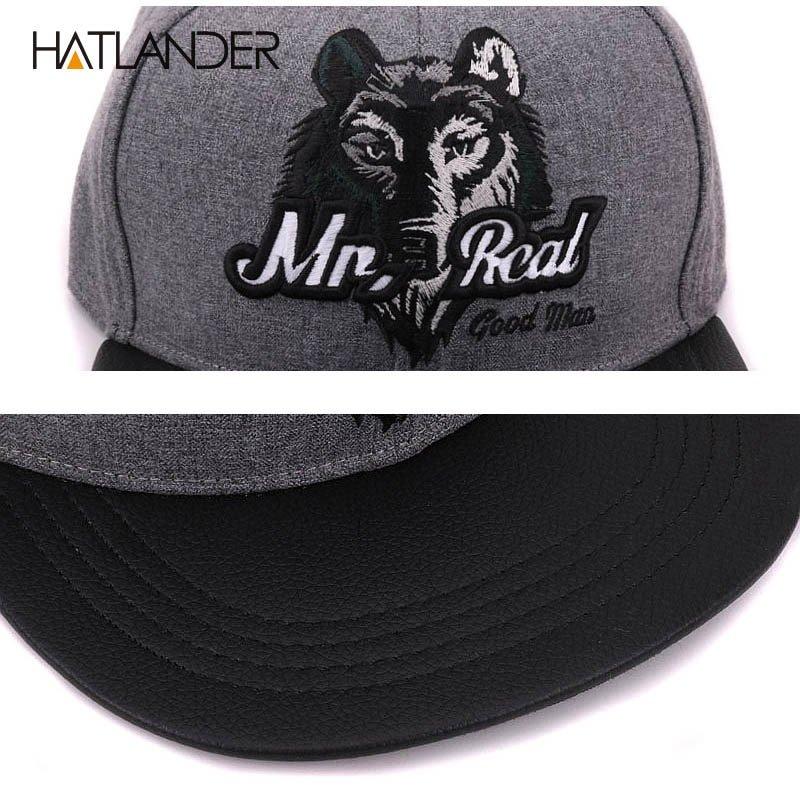 Black Cool Embroidery WOLF Baseball Cap Flat Brim Hiphop Adjustable Snapback Hat
