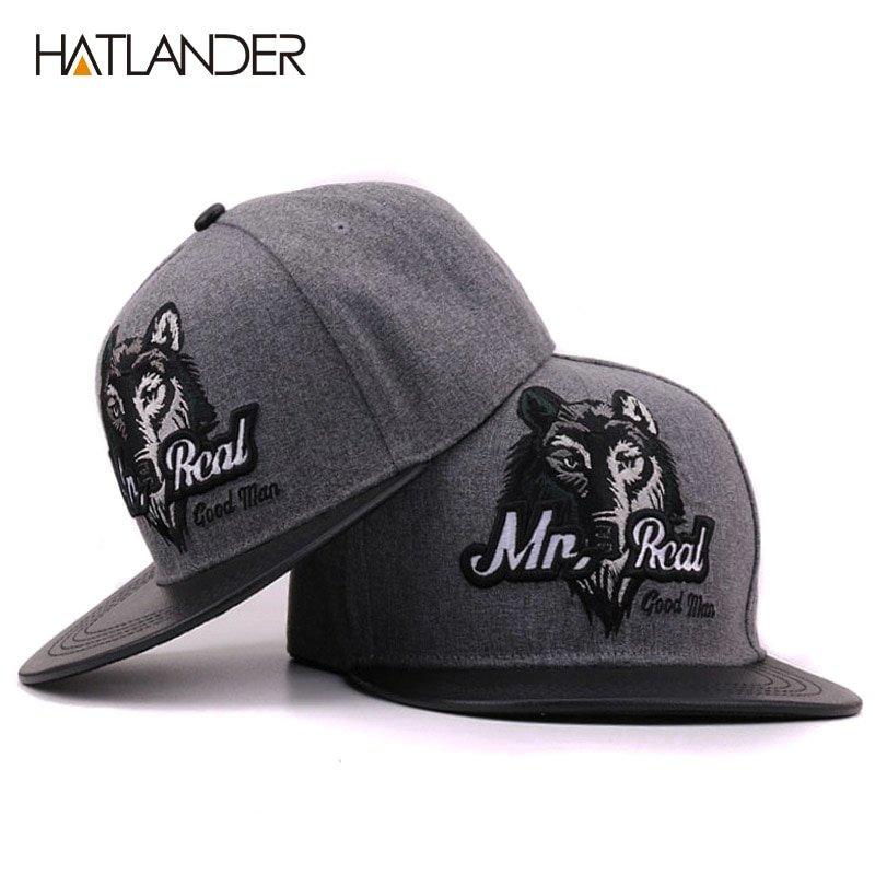 HATLANDER 2017 Grey men hip hop baseball cap fitted flat brimmed hat ... fd191ae1b60