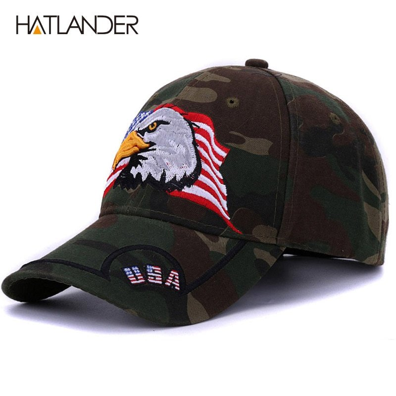 HATLANDER Embroidery Eagle camouflage baseball caps for men women ... 3fccb13afd7