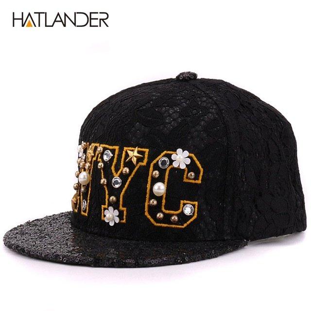 HATLANDER Luxury beaded letter NYC baseball caps for women snapbacks ... 1d778c67db2
