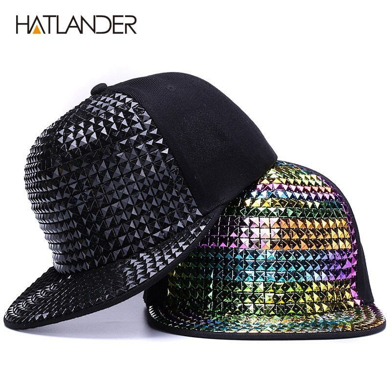 HATLANDER Personality sequins baseball caps flat brim outdoor hats ... 0ddfb8e0bb1