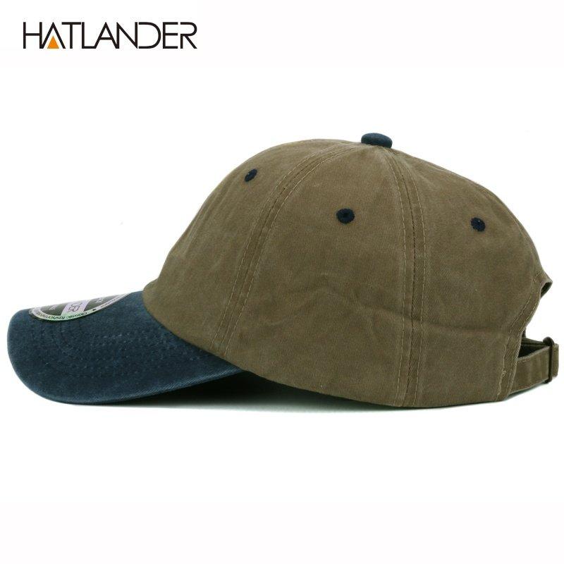 HATLANDER heavy washed solid two tone plain baseball cap snapback ... e914893a4b74