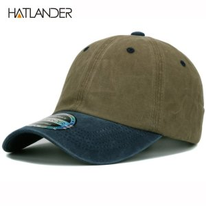 e6b8afe4bc21e HATLANDER heavy washed solid two tone plain baseball cap snapback unisex  gorras bicolore blank hat cotton cap for men women