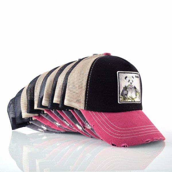 Unisex sun hats for men Hip Hop Hat Breathable Mesh Baseball Caps Women Embroidery panda Snapback caps Summer Gorras 12