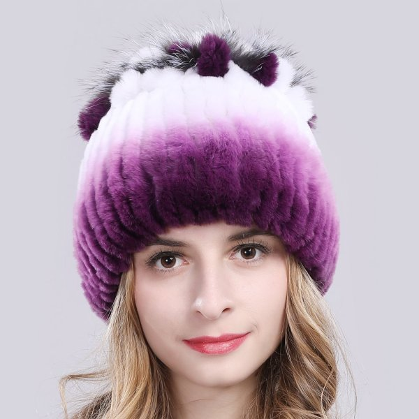 2019 Russia Hot Sale Winter Real Fur Beanies Hat Women 100% Genuine Real Rex Rabbit Hat Good Elastic Knitted Rex Rabbit Fur Caps 4