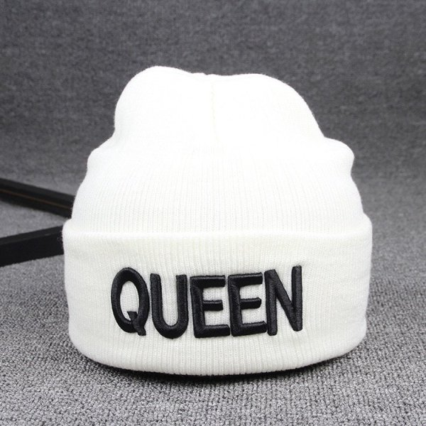 Beanies Cap KING QUEEN Letter Embroidery Warm Winter Hat Knitted Cap Hip Hop Men Women Lovers Street Dance Bonnet Skullies Black 10