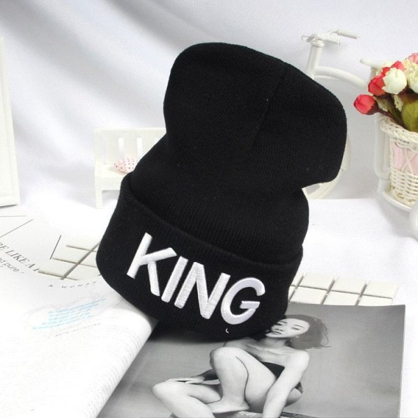 Beanies Cap KING QUEEN Letter Embroidery Warm Winter Hat Knitted Cap Hip Hop Men Women Lovers Street Dance Bonnet Skullies Black 12