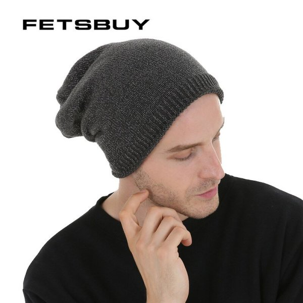 FETSBUY  Autumn And Winter Bonnet Beanies Hat Women Fashion Flashing line Knitted Skullies Beanie Cap Men Add Velvet Warm #19009 2