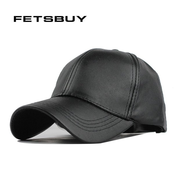 FETSBUY New High Quality Leather Cap Biker Trucker Caps PU Solid Color HIP HOP Snapback Baseball Cap Fitted Adjustable Hat 2017 1