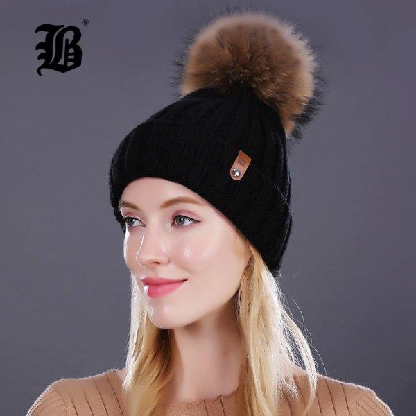 [FLB] Wholesale Real Mink Fur Pom Poms Knitted Hat Ball Beanies Winter Hat For Women Girl 'S Wool Hat Cotton Skullies Female Cap 2