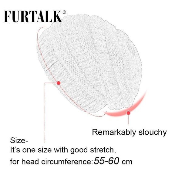 FURTALK Slouchy Beanie Winter Hat for Women Knitted Warm Fleece Lining Hat for Female Skullies Beanies Red Yellow Black Grey Cap 10