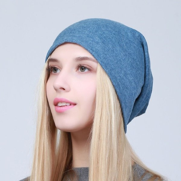 Geebro Women's Plain Beanie Hat 2018 Spring Cotton Slouchy Beanie for Women Knitted Bone Hat Ladies Black Skullies Cap JS293A 4