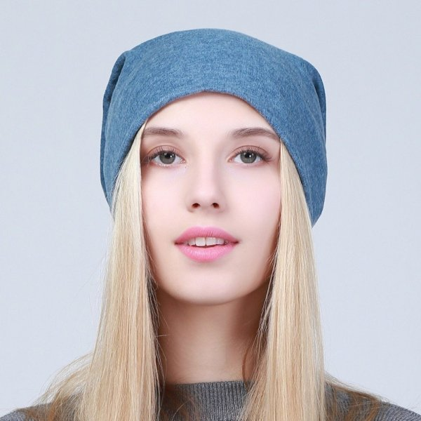Geebro Women's Plain Beanie Hat 2018 Spring Cotton Slouchy Beanie for Women Knitted Bone Hat Ladies Black Skullies Cap JS293A 6