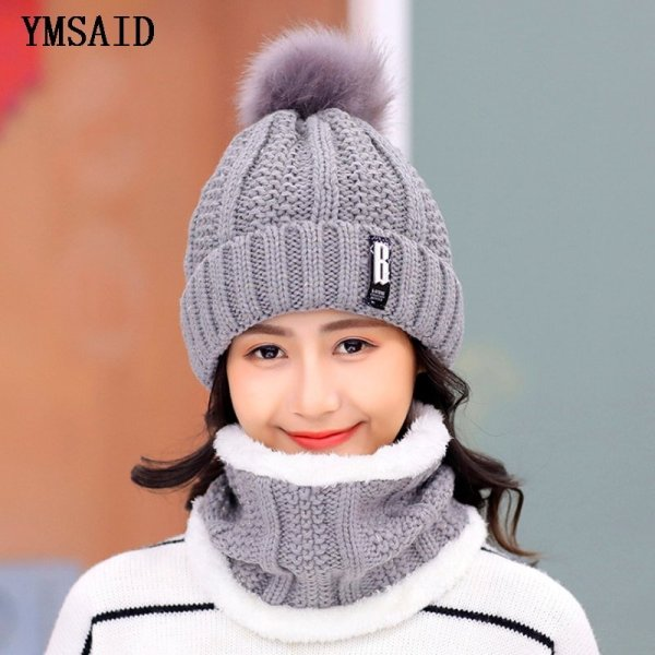 High Quality Ski Cap 2018 New Brand Wool Fur Lining Ball Cap Pompom Winter Hat For Women Girls Warm Knitted Scarf Hat 11.11 4