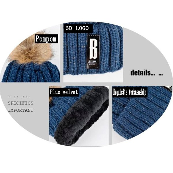 High Quality Ski Cap 2018 New Brand Wool Fur Lining Ball Cap Pompom Winter Hat For Women Girls Warm Knitted Scarf Hat 11.11 10