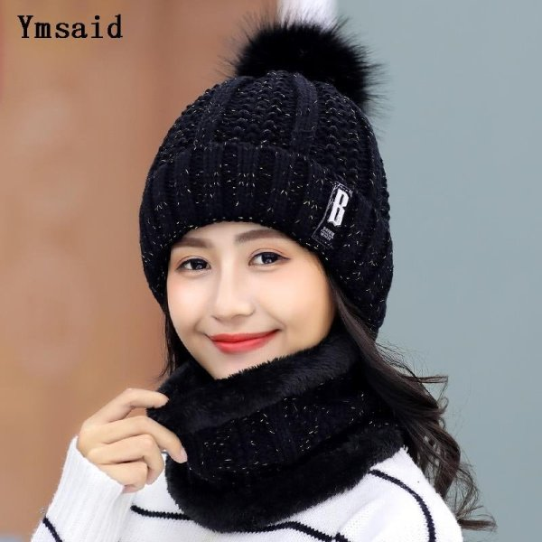 High Quality Ski Cap 2018 New Brand Wool Fur Lining Ball Cap Pompom Winter Hat For Women Girls Warm Knitted Scarf Hat 11.11 2