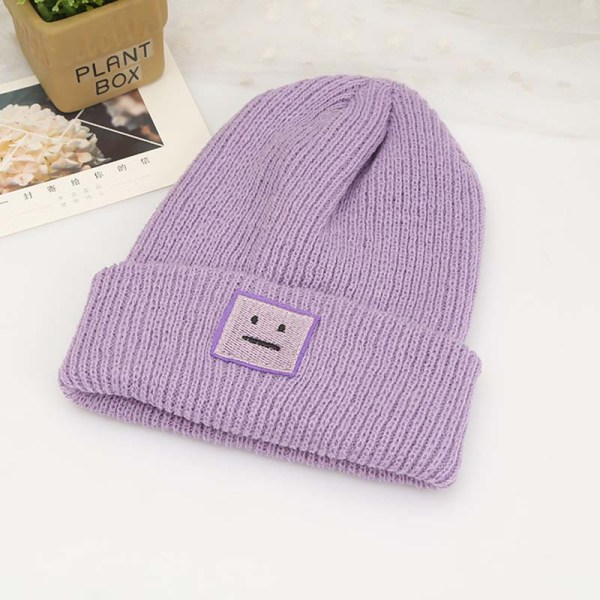 Korean New Hat Autumn Winter Fashion Warm knit Cap British Style Smiley Head Casual Knitted Cap For Women Outdoors Headwear 8
