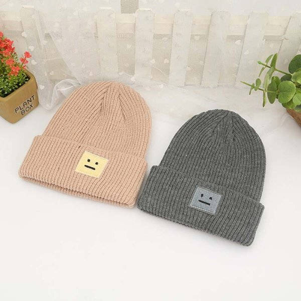 Korean New Hat Autumn Winter Fashion Warm knit Cap British Style Smiley Head Casual Knitted Cap For Women Outdoors Headwear 12
