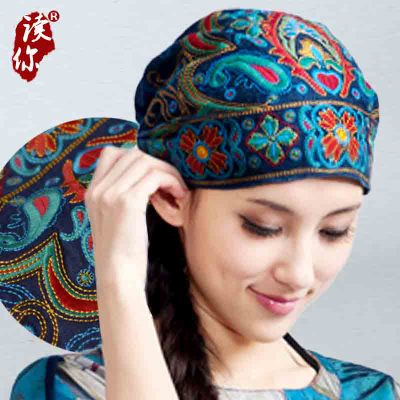 Mexican Style Spring And Autumn Ethnic Vintage Embroidery Flowers Bandanas Original Red Blue Print Hat Cat Free Shipping 2