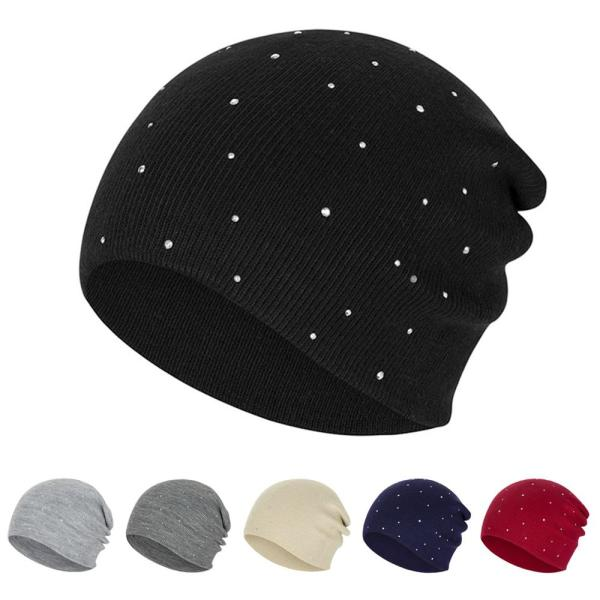 New Pearl Winter Skullies Beanies Hat Women Solid Color Knitted Cotton Female Winter Beanies Caps Soft Warm Hats Ladies Bonnet 2