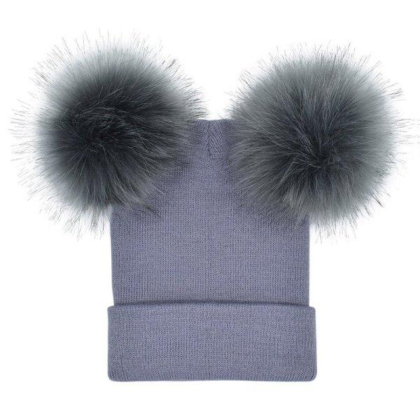 Women Double Faux Fur Pom Pom Hat Pompom Hat Winter Hats for Women Knitted  Beanie Women Girls Winter Caps Skullies Beanies 8