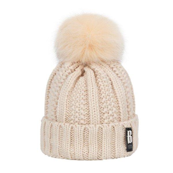 Women's Winter Hat Cotton Knit Fashion Winter Warm Beanie Hat Adjustable Hood Soft Pompom Hat Outdoor Sports 4