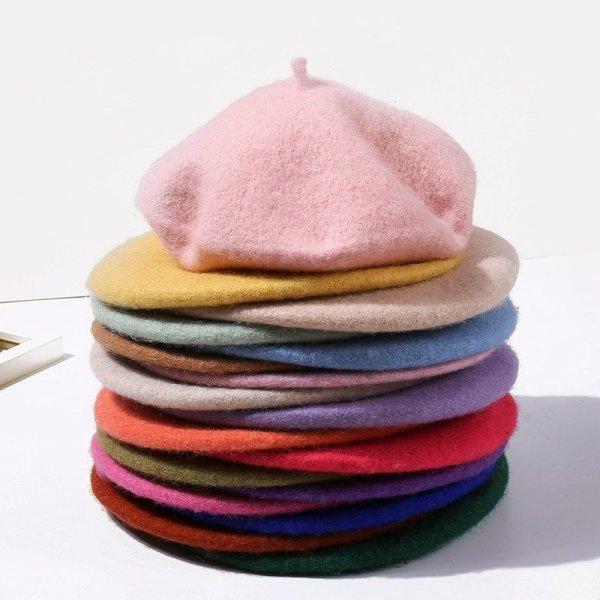 Wool Beret Hats Women Winter French Hat Girls Solid Color Fashion  Autumn Winter Beret Hat For Women Flat Cap Hat Felt Berets 6