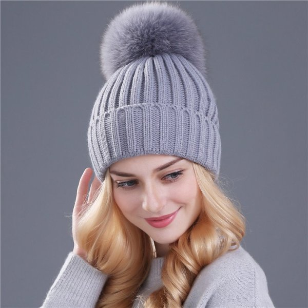 Xthree mink and fox fur ball cap pom poms winter hat for women girl 's hat knitted  beanies cap brand new thick female cap 10