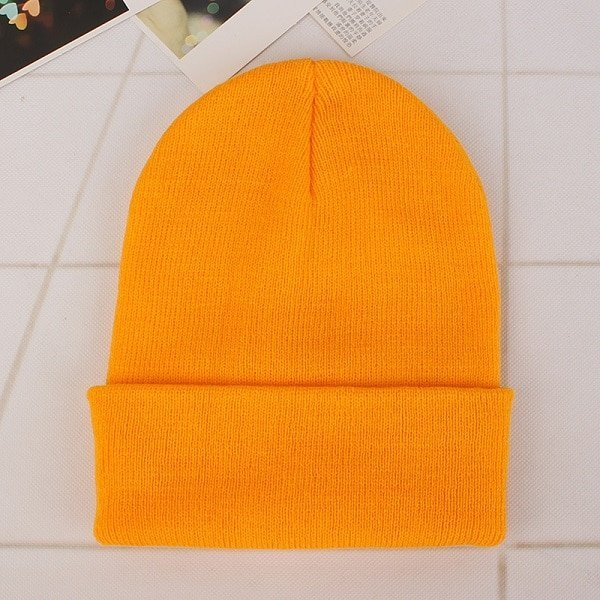 Spring Women Men Knitted Winter Warm  Orange Cap Casual Beanies Solid Bonnet Hat