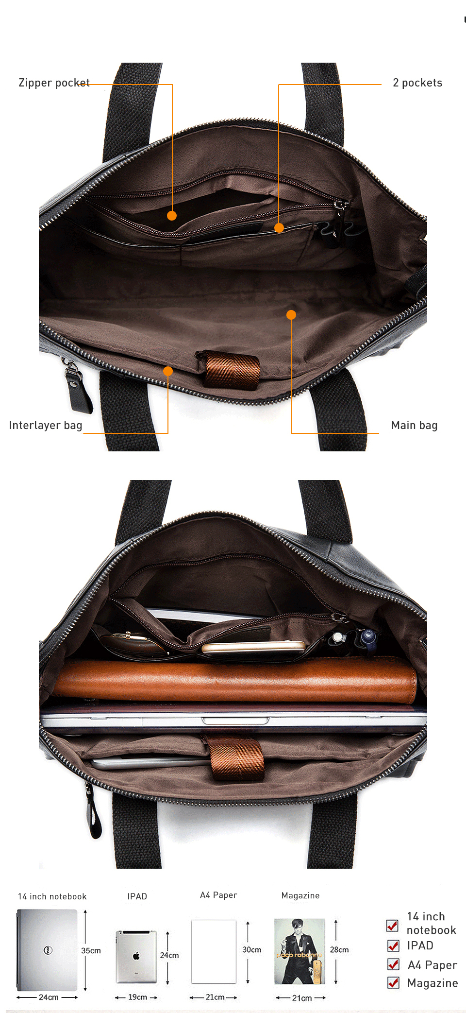 2 genuine leather bag for men