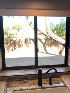 bronze interior gliding window