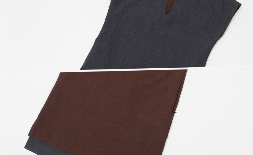 Reversible chocolate and charcoal tunic beta brand