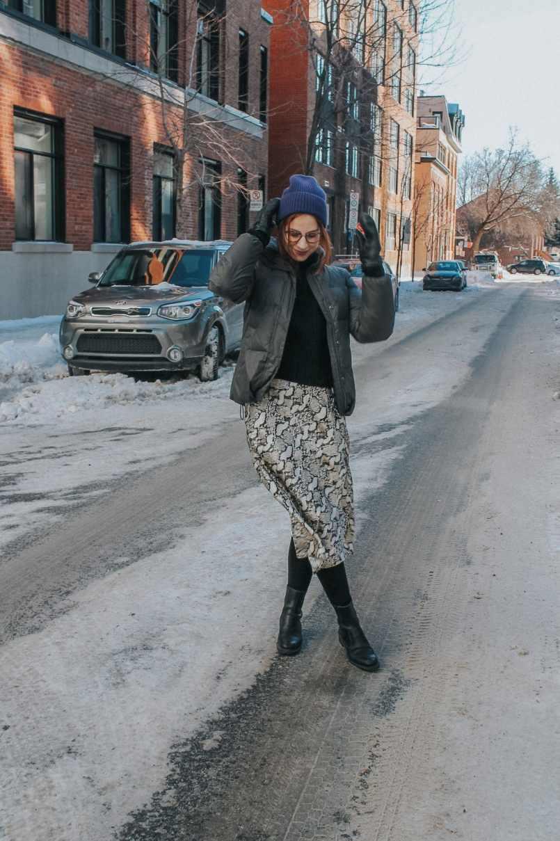 hm mid-calf snakeskin skirt