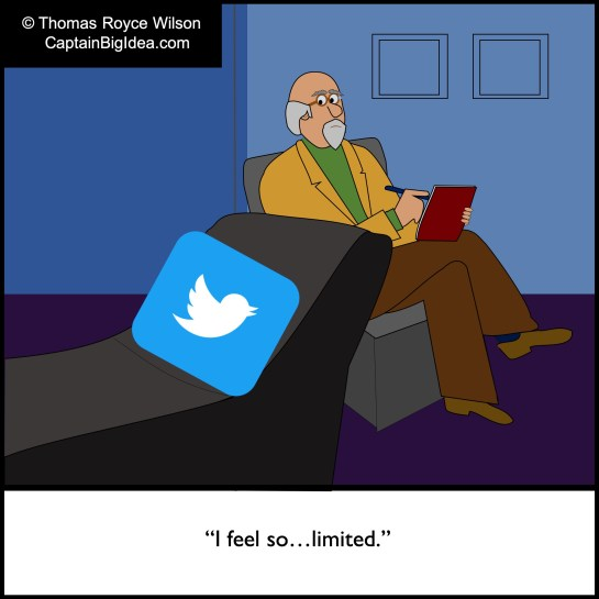 A cartoon about Twitter.
