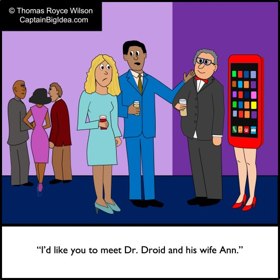 Cartoon about android smartphone