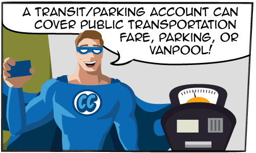 A Transit account can cover public transportation fare, parking, or vanpool!