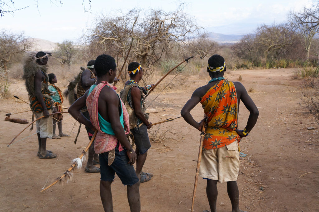 #Hadzabe #tribesmen practice #target #shooting with #bows and #arrows