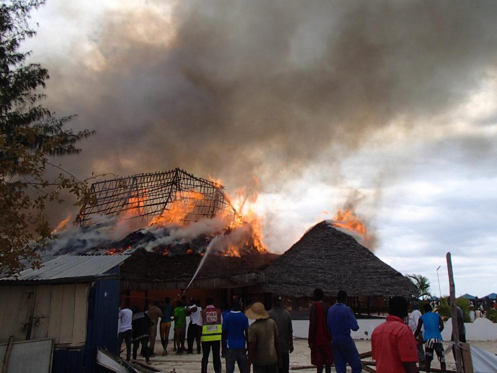 #fire at beach resort in #Zanzibar