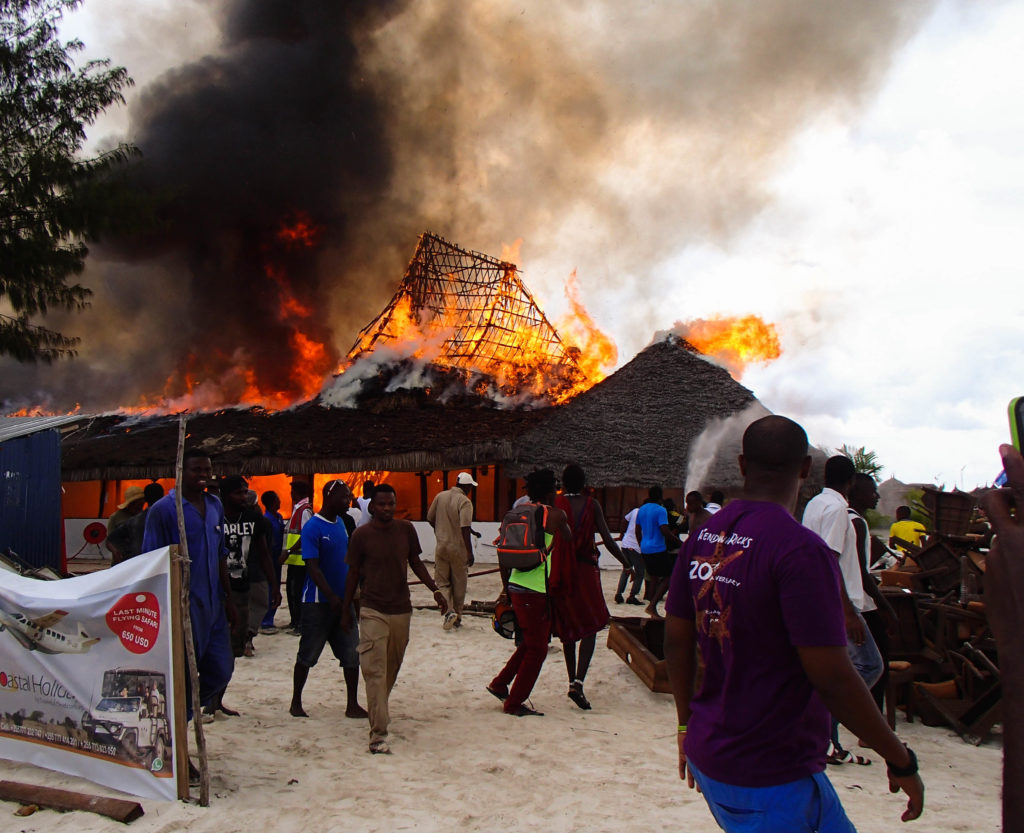 #fire at #beach resort on #Zanzibar