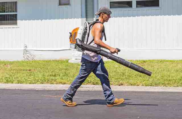 man with a leaf-blower