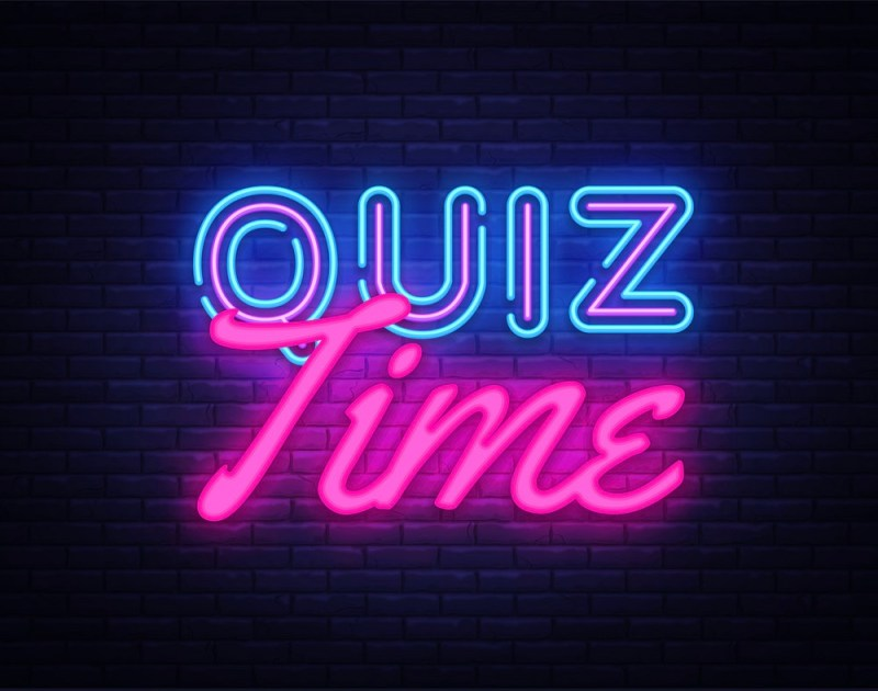 Quiz Time neon sign vector. Quiz Pub Design template neon sign, light banner, neon signboard, nightly bright advertising, light inscription. Vector illustration