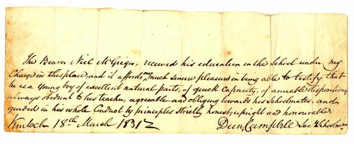 1831 March 18 letter of intro from Duncan Campbell, Schoolmaster, Kinloch Rannoch