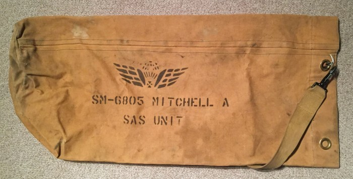 Army kit bag marked with soldier's name and unit. Canadian SAS Company 1947-1949.