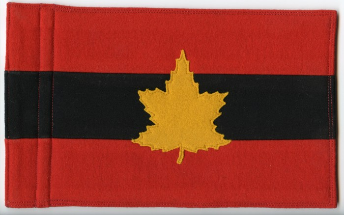 Staff car flag for the jeep of General Harry Crerrar as General Officer Commanding, First Canadian Army, 1944-1945. This one was given to me by his Aide-de-Camp.