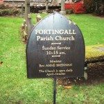 Fortingall Church sign - Scotland. Photo by CMS